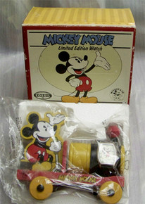 Mickey Mouse Fossil Watch Set with Wooden Pull Train Toy. Lmt. Ed.