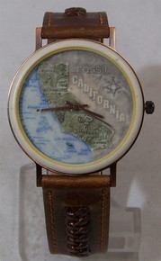 Fossil California State Map Watch Vintage Stone And Copper Wristwatch
