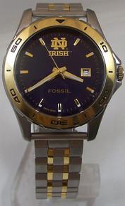 Notre Dame Fossil Watch Mens Fighting Irish Date Wristwatch Li2743