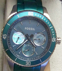 Fossil Teal Aluminum Watch Womens Multifunction ES3036