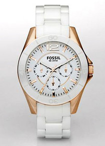 Fossil Ceramic White Multifunction Rose Gold Watch. Ladies CE1006