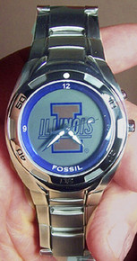 Illinois Illini Fossil Watch Mens Flashing Logo Kaleido Wristwatch