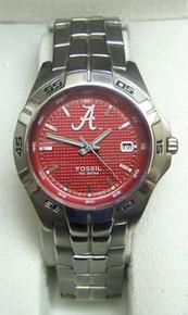 Alabama Fossil Watch Crimson Tide Mens Three Hand Date Wristwatch New