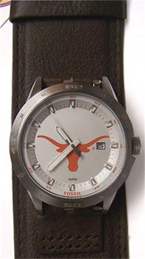 Texas Longhorns Fossil Watch Mens Three Hand Date Wide Dark Brown Cuff