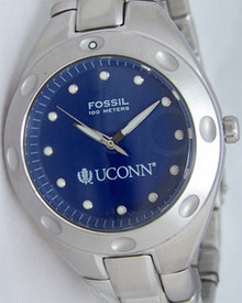 UConn Huskies Fossil Watch Mens Three Hand Stainless Steel Wristwatch