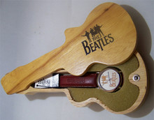 The Beatles Gold Logo Watch in Wooden Guitar display case Apple Corp.