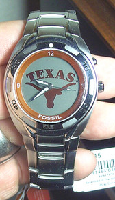 Texas Longhorns Fossil Watch Mens Flashing logo Kaleido Wristwatch