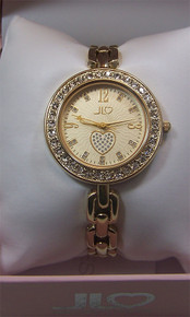 Jennifer Lopez Watch, Womens Glitzy Round Gold Tone with Heart J2/1024
