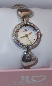 Jennifer Lopez Watch Jlo Silver Tone MOP Heart links glitz Wristwatch