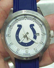 Indianapolis Colts Fossil Watch Mens Three Hand Date Silicone Strap