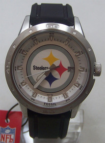 Pittsburgh Steelers Fossil Watch Mens Three Hand Date Silicone Strap