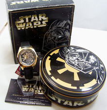 Fossil Star Wars Watch Darth Vader Gold Set Empire pin and Tin Li1605