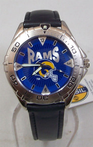 St Louis Rams Fossil Watch Mens Vintage 1998 Black Leather Wristwatch