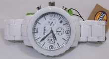Fossil Ceramic Watch Ladies White Chronograph Womens CE1075 with Date