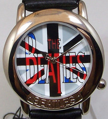 The Beatles Watch Colorized Beatles Name in Wooden Guitar display case