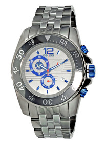 Oniss Men's Iceberg Blue Watch Titanium Finish Stainless Chronograph