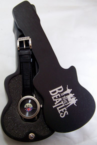 The Beatles Watch in Wooden Guitar Case Vinyl Record Face Wristwatch