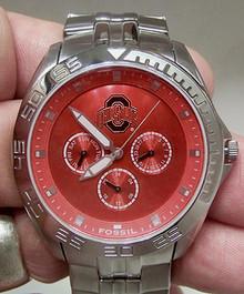 Ohio State Buckeyes Fossil Watch Mens Multifunction Wristwatch Li2781