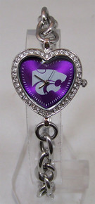 Kansas State Wildcats Heart Watch Game Time Ladies Glitz Wristwatch