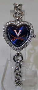 Virginia Cavaliers Heart Watch Game Time Ladies UVA Logo Wristwatch