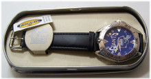 New York Giants Fossil Watch Mens Vintage 98 Black Leather Wristwatch