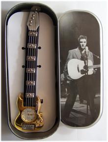 Elvis Presley Guitar Shaped Watch Novelty Gold Wristwatch in Elvis Tin