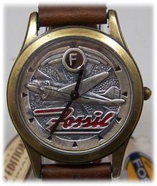 Fossil Airplane Watch Vintage Aero Pilot aircraft Wristwatch Brown