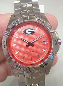 Georgia Bulldogs Fossil Watch mens Three Hand Date Wristwatch Li2753