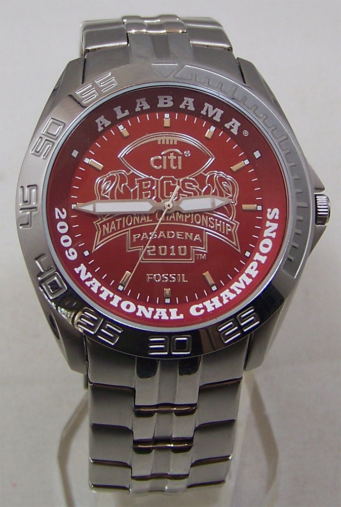 Alabama Crimson Tide Fossil Watch Mens 2009 Bcs Champions
