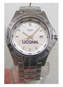 UCONN Connecticut Huskies  Fossil Watch Mens Three Hand Date Wristwatch