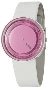 Philippe Starck Watch Womens White Leather with Pink Face Wristwatch