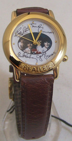 The Beatles Gold Watch in Wooden Guitar case and Beatles signatures