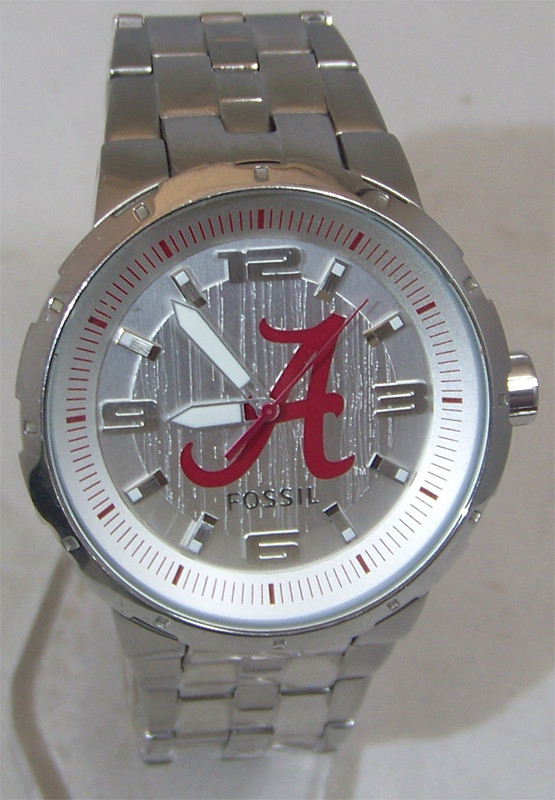 Alabama Crimson Tide Fossil Watch Mens Large Logo Wristwatch