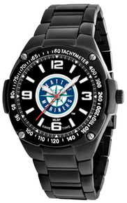 Seattle Mariners Watch Mens MLB Black Stainless Gladiator Wristwatch New