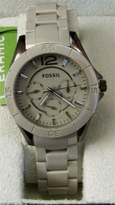 Fossil Womens Ceramic Watch Ladies Gray Multifunction Riley CE1064