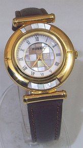 Fossil Womens Watch Vintage Mother of Pearl Ladies Inlay Gold Tone