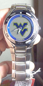 West Virginia Mountaineers Fossil Watch Mens Flash Logo Kaleido