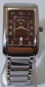 Callaway Golf Watch Mens Dress Copper tone on Silver Date Wristwatch