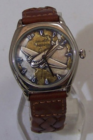 Fossil Airplane Watch Vintage Pilots Collectors Wristwatch Mens 2 Tone