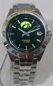 Iowa Hawkeyes Fossil Watch Mens Three Hand Date Wristwatch