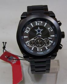 Dallas Cowboys Fossil Watch Mens Black Ion Plate SIP Stop Wristwatch