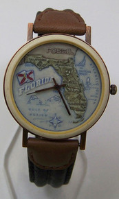 Fossil Florida Map Watch Vintage Collectible Copper Case Wristwatch