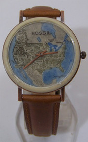 Fossil United States Map Watch Vintage Copper USA Case Wristwatch