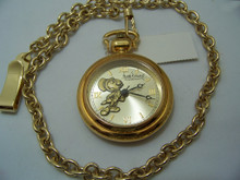 Jiminy Cricket Pocket Watch Vintage Collectors Gold Tone