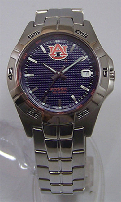 Auburn Tigers Fossil Watch Mens Three Hand Date Stainless ...
