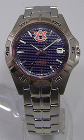 Auburn Tigers Fossil Watch Mens Three Hand Date Stainless Wristwatch