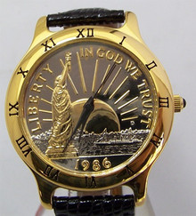 Statue of Liberty Watch 23K Gold Plate Coin Croton Lmt Ed Wristwatch