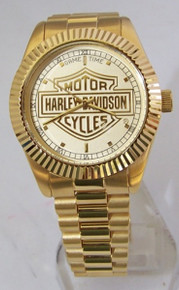 Harley Davidson Watch Game Time 23K gold logo Mens Owners Wristwatch
