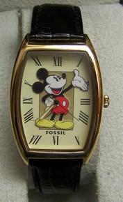 Mickey Mouse Fossil Watch Disney Vintage Gold Tone Lmt Ed Li1453 Mint