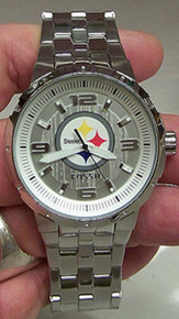 Pittsburgh Steelers Fossil Watch Mens New NFL SS Three Hand Silver